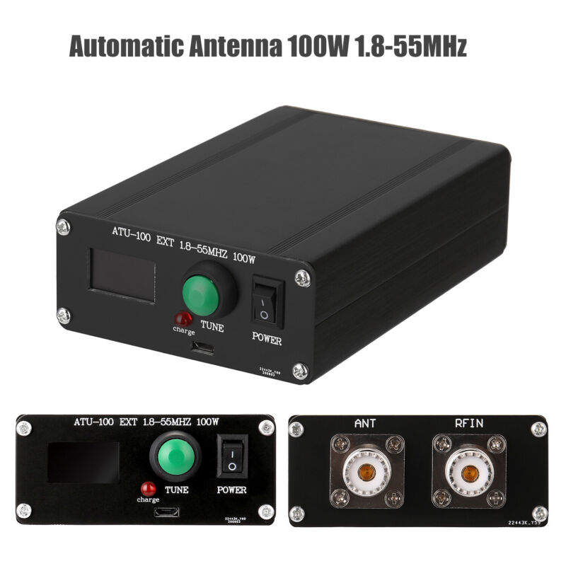 ATU-100 1.8-55MHz Automatic Antenna Tuner by N7DDC 7x7 + 0.96 OLED + Shell