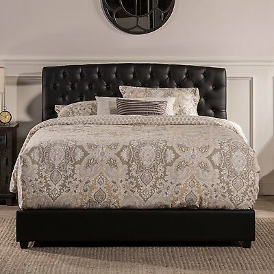 Leather Bed Set - Hillsdale Hawthorne Collection Bed Set in Queen size with Black Faux Leather
