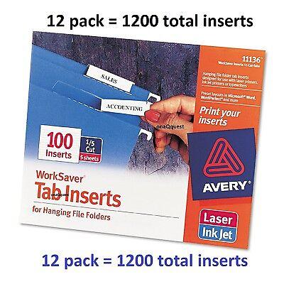 12pk Avery 11136 Worksaver 15 Cut Printable Hanging File 100 Tab Inserts Folder