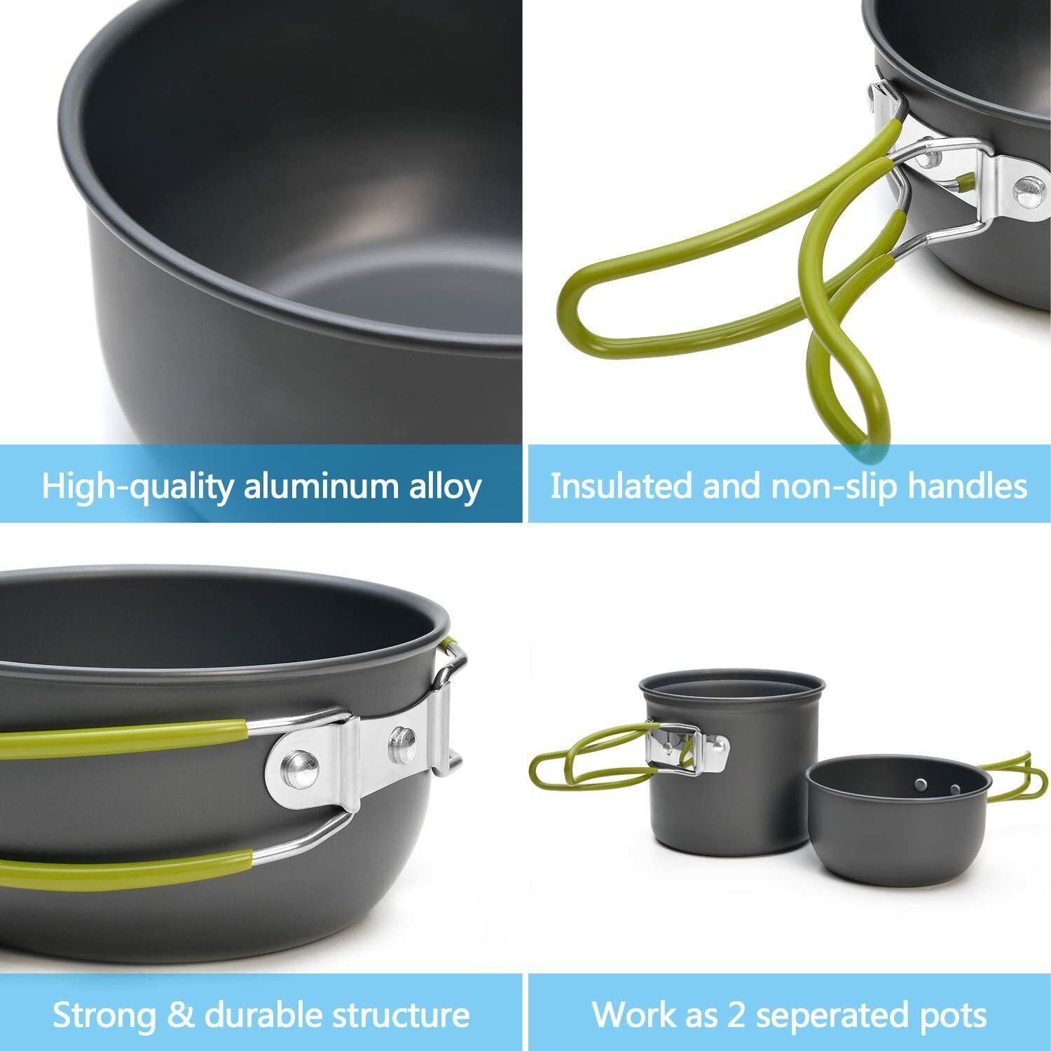 Odoland Camping Cookware Stove Carabiner Canister Stand Tripod And Stainless Ste - $42.00