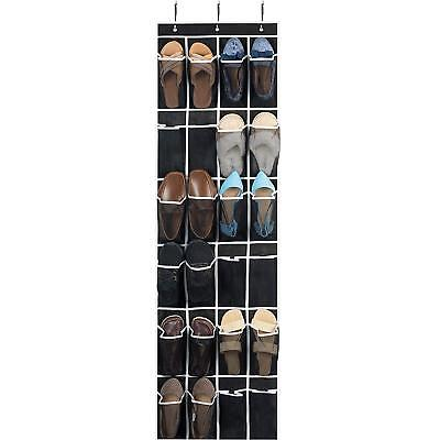 Over the Door Shoe Organizer - 24 Breathable Pockets, Hanging Shoe Holder