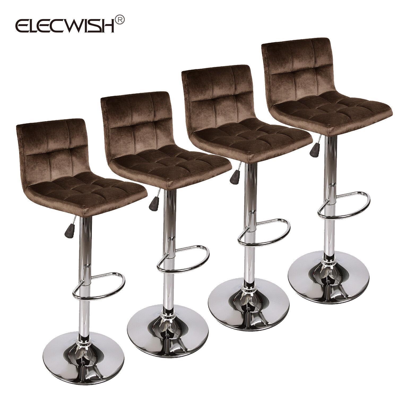 set of 4 velvet adjustable bar stool