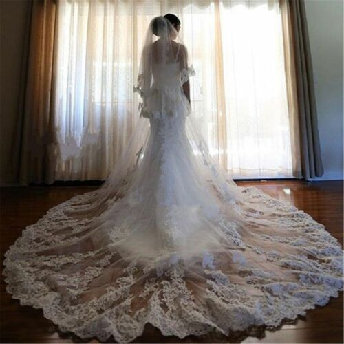 Wedding Veils Cathedral Length Comb 2 Tiers Cover Face Bride Bridal Accessories