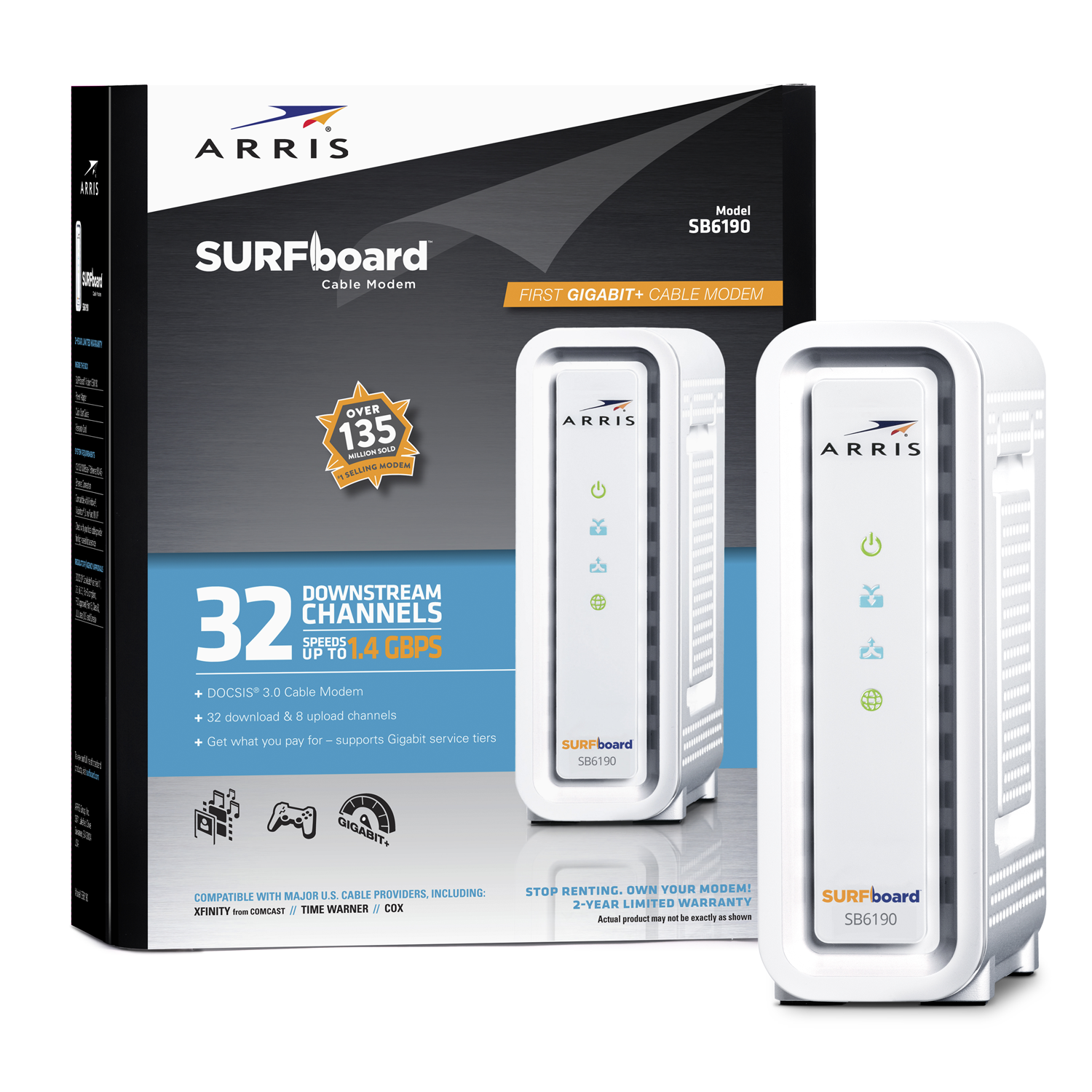 Arris Surfboard White Sb6190 Docsis 3.0 Cable Modem Inter...