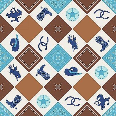 Ткань Fabric Western Cowboy Things Argyle
