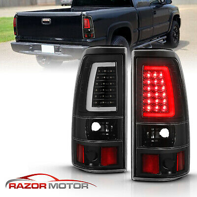 For 1999-02 Chevy Silverado 1500 99-06 GMC Sierra LED Tube Black Brake Taillight