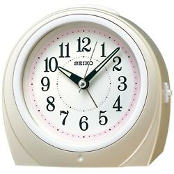 SEIKO Clock Clock Automatic Lights Alarm Clock (Pink) Round KR888P Watches - New