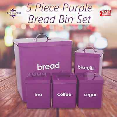 Purple Tea Coffee Sugar Canisters Bread Bin Storage Set 5 Kitchen Accessories