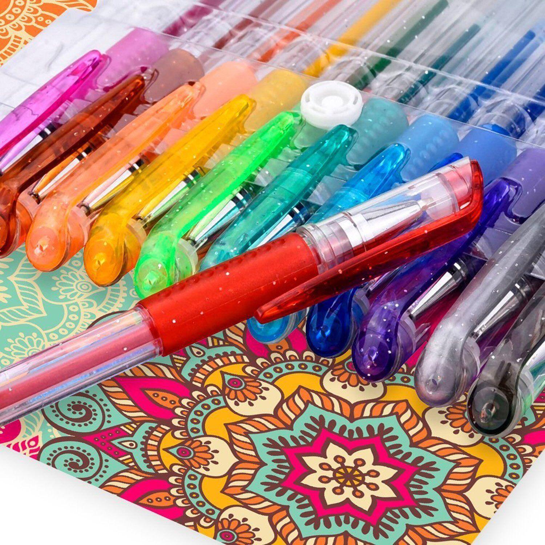 Set 12 Penne Gel Glitter Colorate Colori Fluorescenti Bambini Disegni Scuola dfh