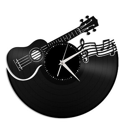 Ukulele Vinyl Wall Clock Unique Gift for Music Lovers Home Vintage Decoration for sale  Shipping to Canada