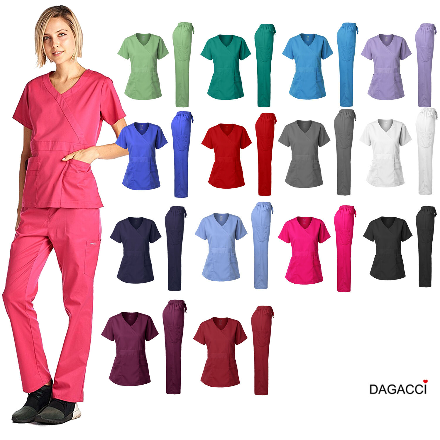 Dagacci Medical Uniform Women's Scrub Set Stretch and Soft Y