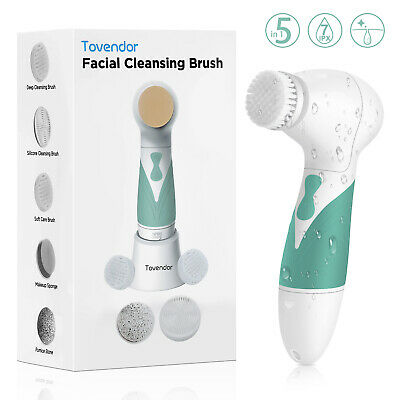 Electric Facial Brush Face Skin Spa Spinning Cleansing Scrubber w/ 5