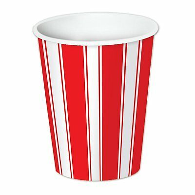 Red White Stripes Carnival Circus Theme Birthday Party 9 oz. Paper Cups](Red Birthday Theme)