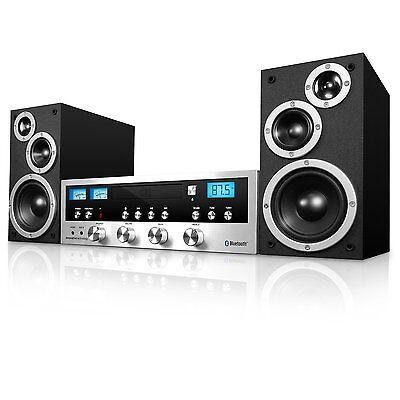 Innovative Technology Classic Retro Black/Silver Bluetooth Stereo System w/BT