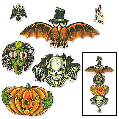 Vintage Halloween Totem Pole Cutouts](Halloween Decoration Cutouts)