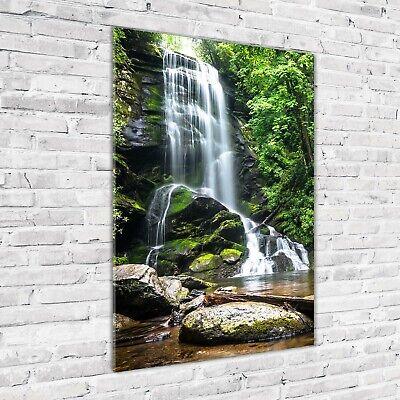 Wandbild Kunst-Druck auf Hart-Glas hochkant 70x100 Wasserfall