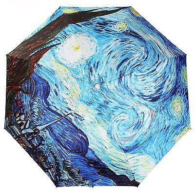 Kung Fu Smith Blue Van Gogh Starry Night Anti UV Parasol Rain Compact Umbrella