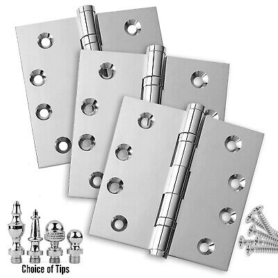 Door Hinges 4 x 4 Solid Brass Ball Bearing Polished Chrome With Tips - Set of 3 Chrome Solid Brass Hinges