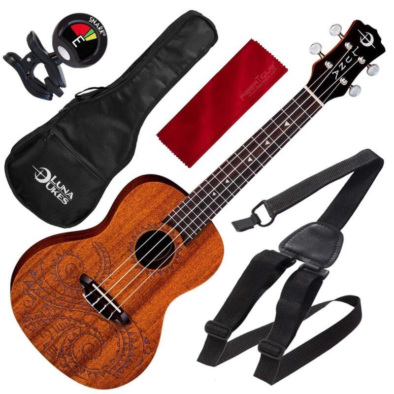 Luna Uke Tattoo Concert Acoustic Mahogany Ukulele with Basic Accessory Bundle