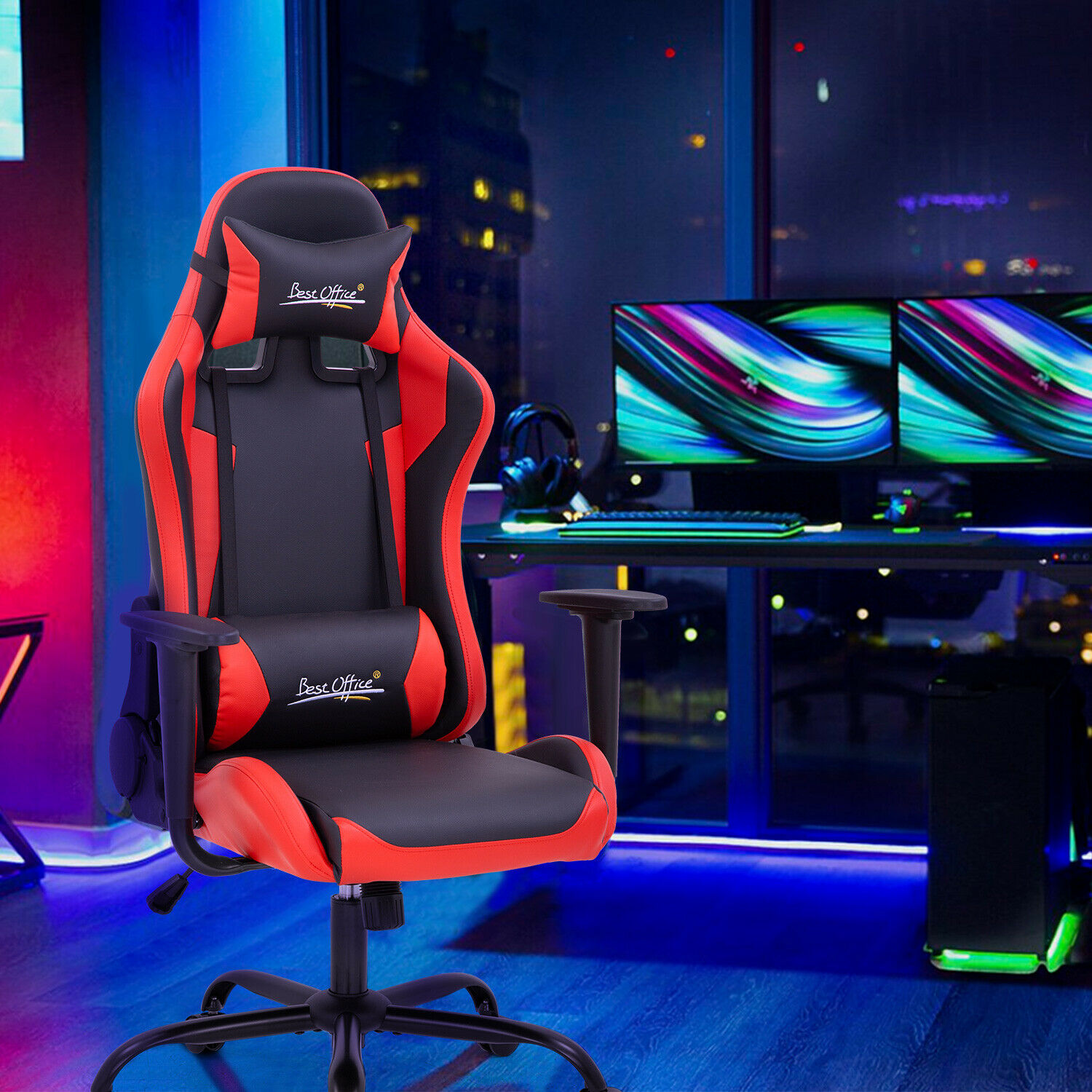 Gaming Chair Racing Chair Computer Chair with Lumbar Support Headrest Armrest Furniture