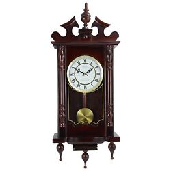 BEDFORD CLASSIC 31 CHERRY OAK FINISH GRANDFATHER WALL CLOCK w/4 CHIMES PENDULUM