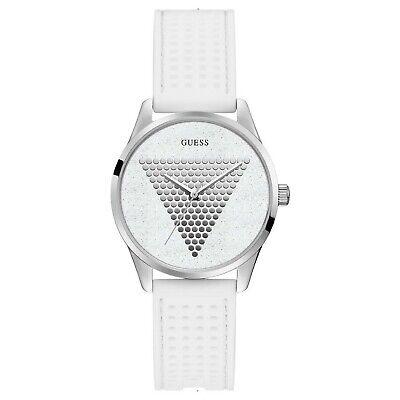 Guess Mini Imprint Women's Stainless Steel & White Rubber Quartz Watch W1227L1 Steel White Rubber Watch