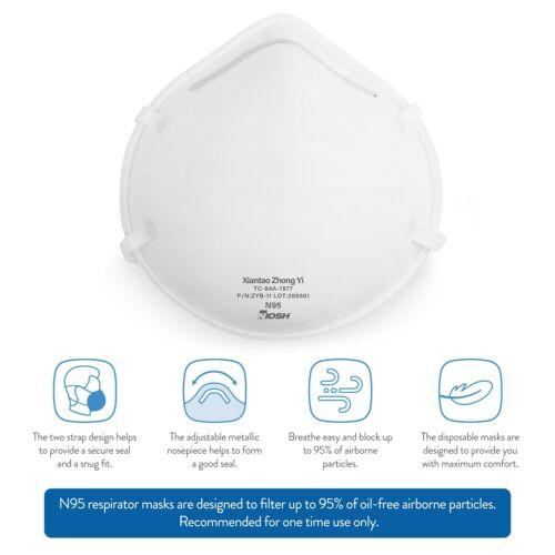 N95 Mask Respirator (NIOSH) Disposable Particulate Filtering Respirator 20-Count