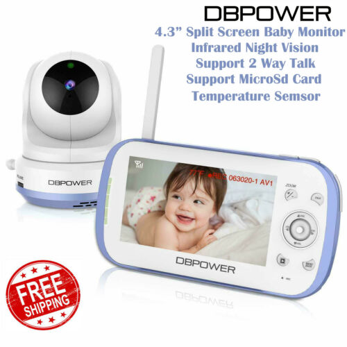 "DBPOWER Baby Monitor with 4.3"" Split Screen Sound Activated Video Record BY01"
