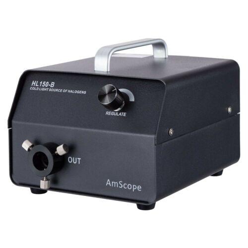 AmScope HL150-B 150W Fiber-Optic Halogen Illuminator with Black Finish