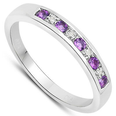 3mm wide Sterling Silver Channel set 0.45 ct Amethyst & Diamond Eternity Ring (3mm Channel Diamond Eternity Ring)