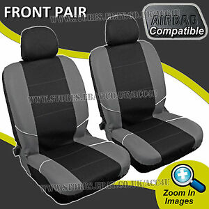 black grey side airbag compatible machine washable car front pair seat covers ebay. Black Bedroom Furniture Sets. Home Design Ideas