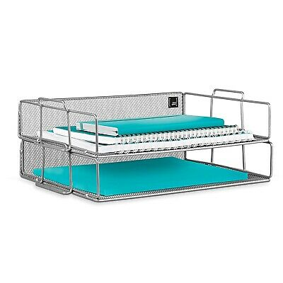 Mindspace 2 Tier Stackable Letter Tray Paper Tray Desk Organizer Silver