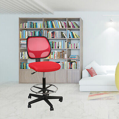Mesh Mid Back Home Office Drafting Bar Counter High Stools Chairs Armless Red