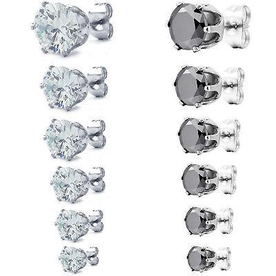 ee858eb21cf13 MENDINO Men's Women's 316L Stainless Steel Earrings Stud Crown Round CZ  3mm-8mm