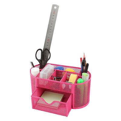 Desk Organizer Mesh Metal Desktop Office Pen Pencil Holder Storage Tray Pink -us