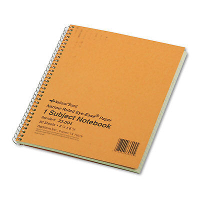 National Subject Wirebound Notebook Narrow Rule 8 14 X 6 78 Green 80 Sheets