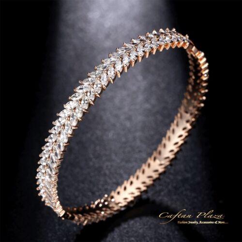 Bangle Bracelet Eternity 18k Rose Gold Plt With Cubic Zirconia AAA New