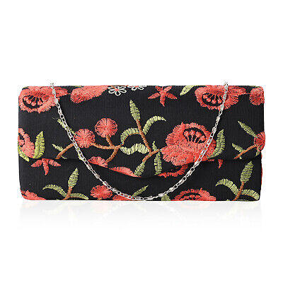Embroidered Flower Pattern Barrel Clutch Bag (9x1.5x4.5 in) with Removable Strap - Flower Pattern Removable Strap