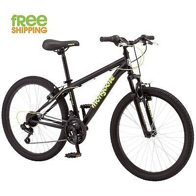 """Mongoose Mountain Bike 24"""" Boy 21 Speed Black Bicycle Shimano New!"""