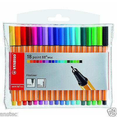 STABILO Point 88 Mini Fineliner Ballpoint Pens-Assorted Colours Art Wallet of 18