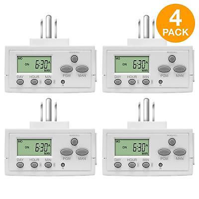 TOPGREENER 4 Pack Plug In Digital Timer for Electrical Outle