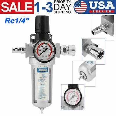 Rc14 Air Compressor Filter Water Separator Trap Regulator Gauge Tools Kit Usa
