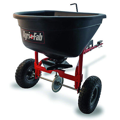 Agri-fab 110 Pound Capacity Tow Broadcast Spreader With 10 Foot Spread Black