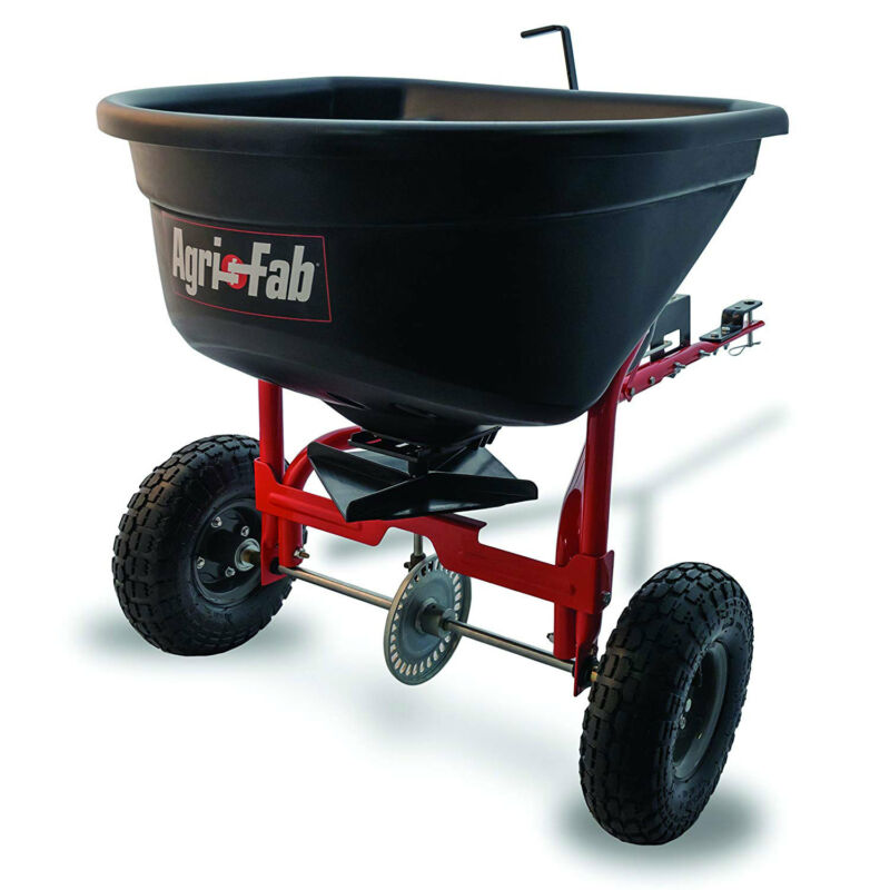 Agri-fab 110 Pound Capacity Tow Broadcast Spreader with 10 Foot Spread, Black