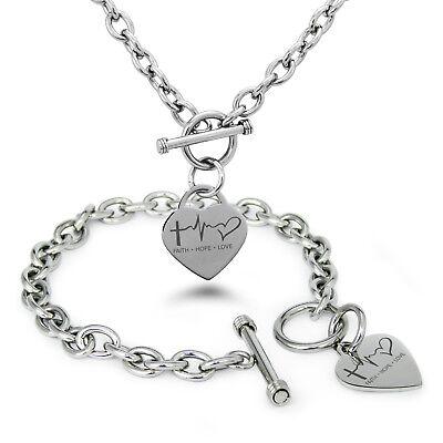 - Stainless Steel Faith Hope Love Lifeline Heart Charm Bracelet, Necklace, Set