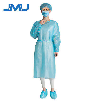10 Blue Medical Dental Isolation Gowns Disposable Unisex Gowns Us Stock
