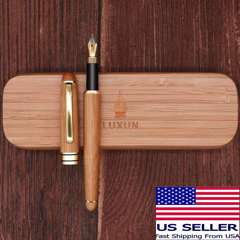 Luxun Bamboo Fountain Pen w/ Iridium Nib & Bamboo Gift Case & Ink Converter Collectibles