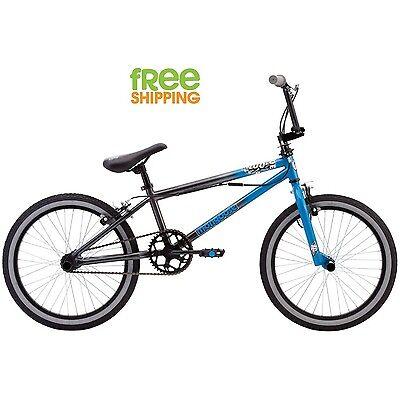 "Mongoose BMX Bike 20"" Boy Kid freestyle Bicycle Four Pegs Blue Gray New!"