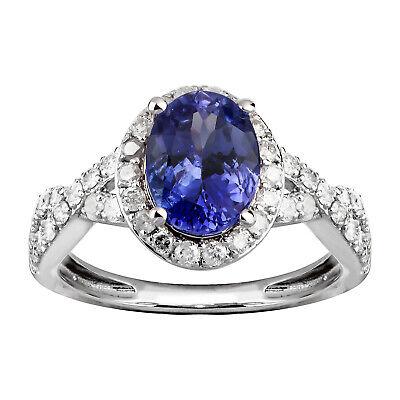 14K White Gold 1.75 carat TW Genuine Tanzanite and Diamond Halo (Carats Genuine Tanzanite Ring)