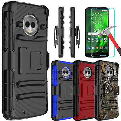 For Motorola Moto G6 Case Cover With Kickstand Belt Clip+Glass Screen (Glasses Case With Belt Clip)